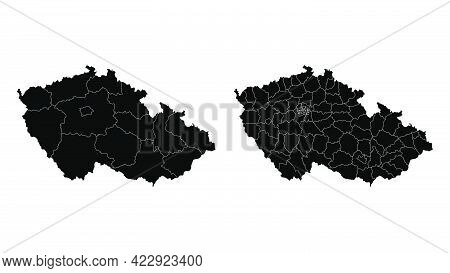 Czech Republic Map Municipal, Region, State Division. Administrative Borders, Outline Black On White