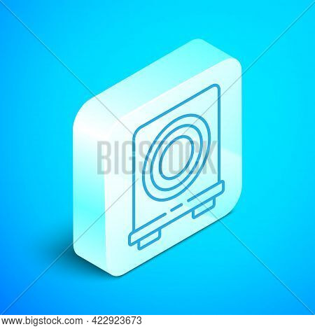 Isometric Line Electric Stove Icon Isolated On Blue Background. Cooktop Sign. Hob With Four Circle B