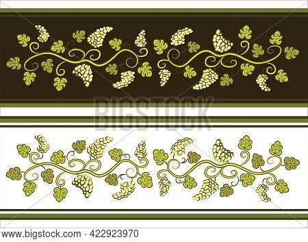 Dividers With Grapes. Branch With Leaves. Winery Decoration. Hand Drawn Colored Vines. Vector Print