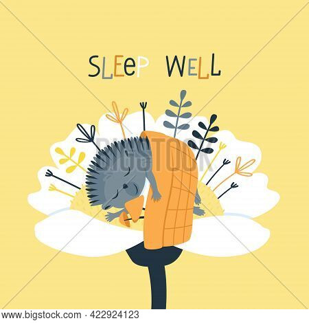 A Cute Hedgehog Sleeps Under A Blanket Inside A Flower. Urchin In An Embrace With Mushrooms. Funny C