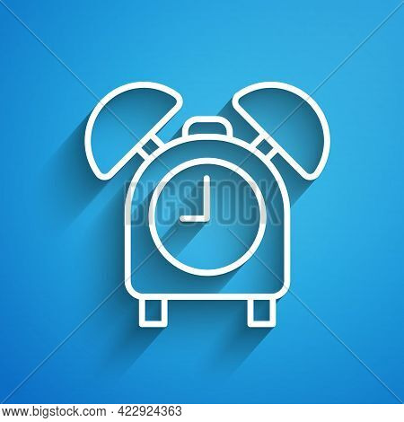 White Line Alarm Clock Icon Isolated On Blue Background. Wake Up, Get Up Concept. Time Sign. Long Sh