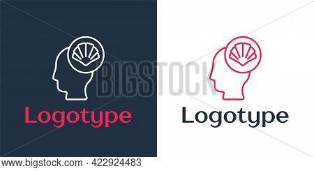 Logotype Line Scallop Sea Shell Icon Isolated On White Background. Seashell Sign. Logo Design Templa