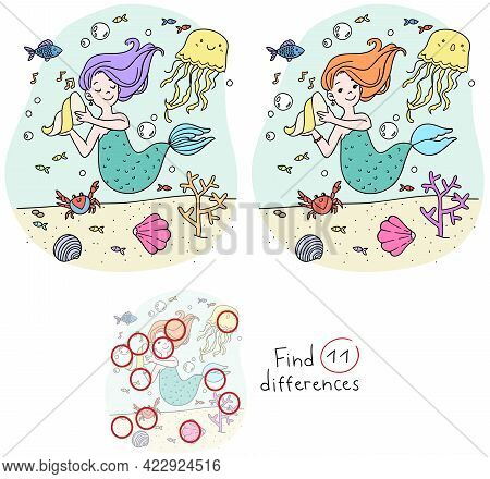 Vector Baby Cartoon Color Image Of A Mermaid On A Mission To Find Differences