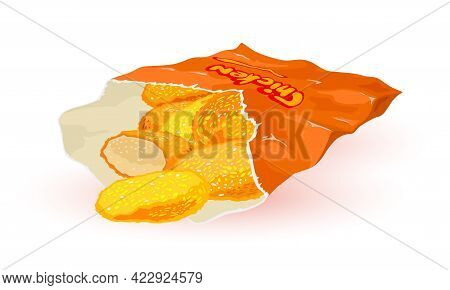 Breaded Chicken Pieces In Paper Package, Quick Lunch, Fast Food. Vector Oily Fried Product, Unhealth