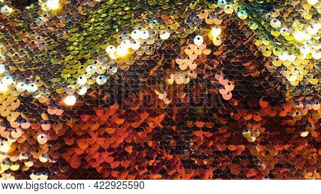 Glmour Background Glitter Flex Embroiled Cloth Green And Rainbow Colors Sequin Fabric
