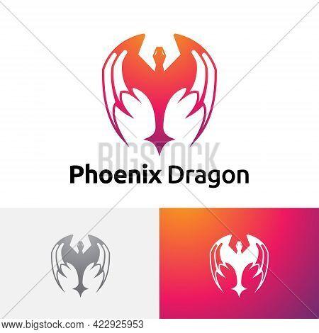 Fire Phoenix Bird Dragon Wings Logo Symbol