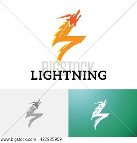 Flash Lightning Thunder Dragon Electricity Power Energy Logo