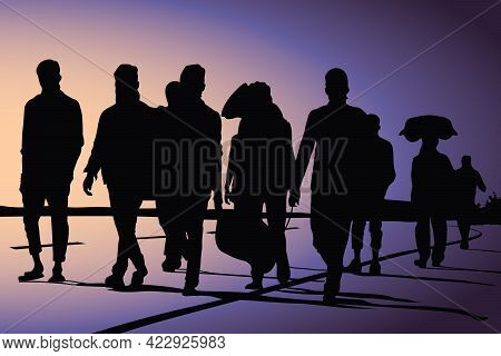 Migrant Workers Returning Due To Corona Virus Pandemic Vector Illustration