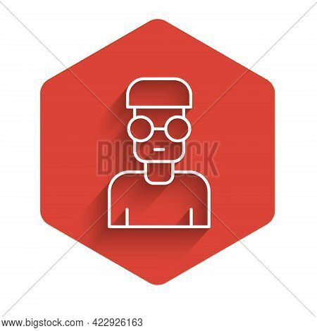 White Line Nerd Geek Icon Isolated With Long Shadow. Red Hexagon Button. Vector