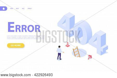 The Concept Of A Web Page With An Error 404. The Man On The Background Of Large Letters 404 And The