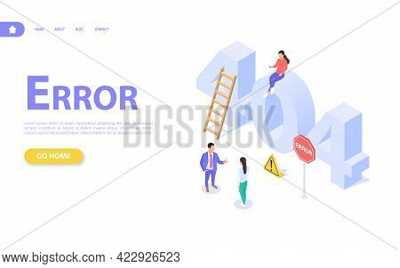 The Concept Of A Web Page With An Error 404. Characters On A Background Of Large Letters 404. The Si