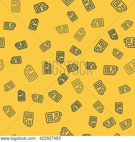 Blue Line Drain Cleaner Bottle Icon Isolated Seamless Pattern On Yellow Background. Water Pipes Clea