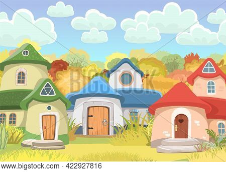 Village Of Gnomes. Fabulous Town With Cute Little Houses. Clouds. Beautiful Cartoon Landscape. Meado