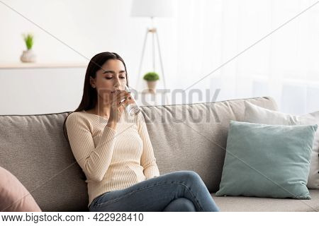 Woman Enjoy Good Habit Drink Mineral Aqua At Morning Take Care Of Skin, Body, Health And Beauty