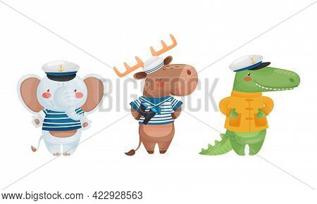 Cute Animal Sailor Character Wearing Striped Vest And Peakless Hat Vector Set
