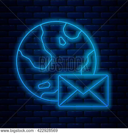 Glowing Neon Line Earth Globe With Mail And E-mail Icon Isolated On Brick Wall Background. Envelope