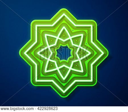 Glowing Neon Line Islamic Octagonal Star Ornament Icon Isolated On Blue Background. Vector