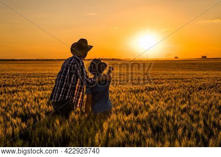 Father And Son Are Standing In Their Growing Wheat Field. They Are Happy Because Of Successful Sowin