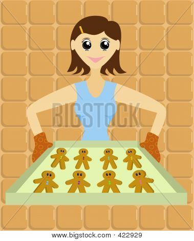Lady With Tray Of Gingerbread Men