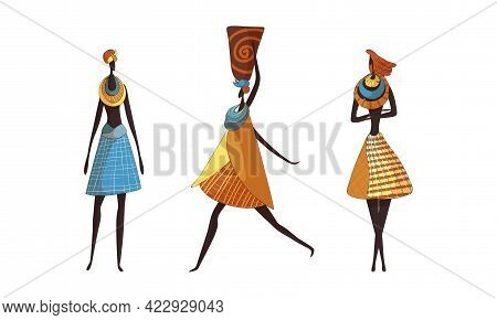 Slender African Woman Wearing Traditional Tribal Clothing And Necklace Carrying Vase On Her Head Vec