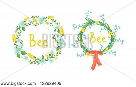 Floral Wreath With Fragrant Blossom And Ribbon Bow Vector Set
