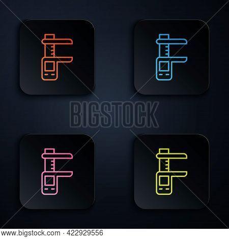 Color Neon Line Calliper Or Caliper And Scale Icon Isolated On Black Background. Precision Measuring