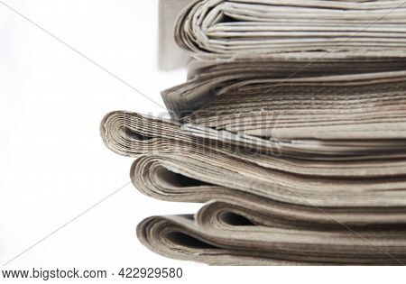 Stack Of Newspaper, Close-up. Journalism Concept