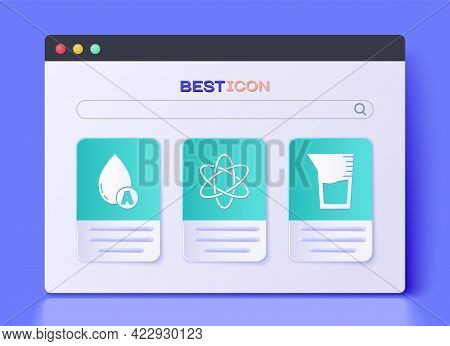 Set Atom, Water Drop And Laboratory Glassware Or Beaker Icon. Vector