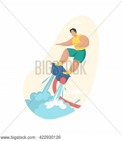 Man Riding Jet Water Board. Fast Extreme Attraction With Powerful Flyboard. Vacationer In Life Jacke