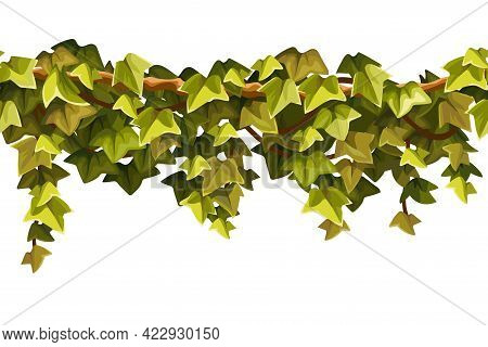 Ivy Seamless Border. Liana Branches And Tropical Leaves. Game Cartoon Element Of Creeper Jungle. Iso