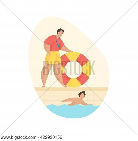 Rescue Service Pool. Man With Lifebuoy Watches Child Swimming In Basin. Professional Lifeguard Train