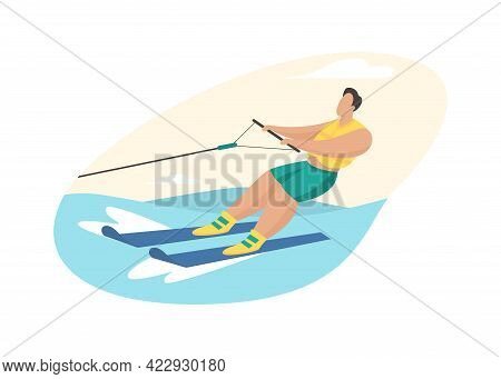 Water Skiing Attraction. Man In Life Jacket Rushes Over Waves Skis Holding Cable Of Boat. Extreme Fu