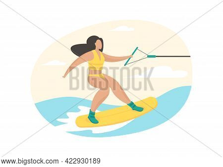 Girl Engaged In Sapperfing. Artificial Surfing Vacation. Woman In Swimsuit Jumps Over Waves On Board