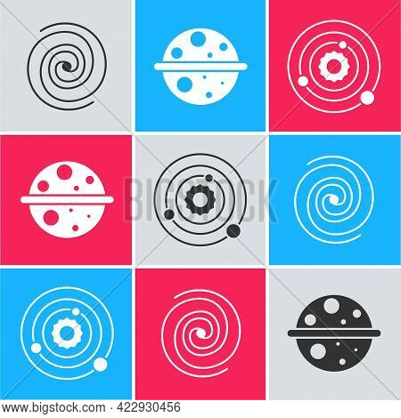 Set Black Hole, Planet Saturn And Solar System Icon. Vector