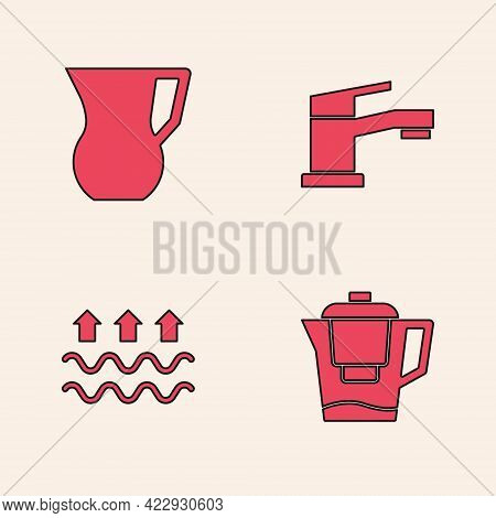 Set Water Jug With A Filter, Jug Glass Water, Tap And Waves Of And Evaporation Icon. Vector