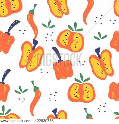 Seamless Pattern With Peppers. Red, Pepper Slices, Chili And Bell Peppers Background. Vegetarian Hea