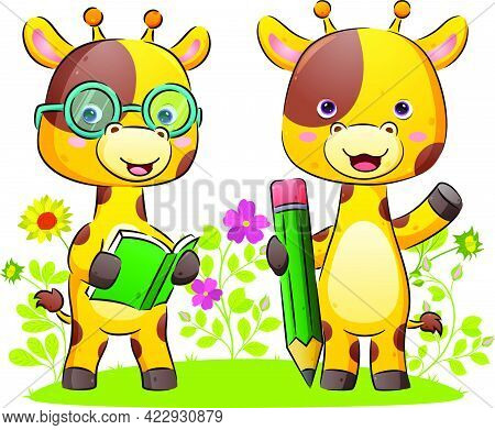 The Happy Couple Of Giraffe Is Holding A Book And A Big Pencil For Write In The Park Of The Illustra