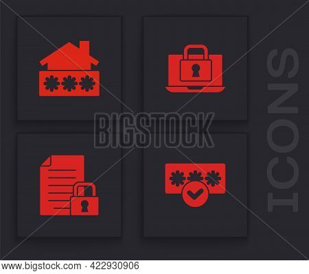 Set Password Protection, House With Password, Laptop And Lock And Document Icon. Vector
