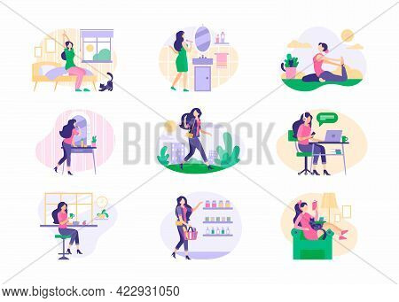 Scenes From Daily Routine Young Woman Set. Girl Wakes Up In Morning And Brushes Her Teeth Exercises