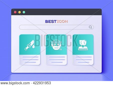Set Bandit, Bloody Knife And Kidnaping Icon. Vector