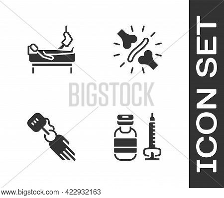 Set Syringe, Patient With Broken Leg, Prosthesis Hand And Joint Pain, Knee Pain Icon. Vector