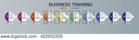 Infographic Business Training Template. Icons In Different Colors. Include Online Training, Consulti