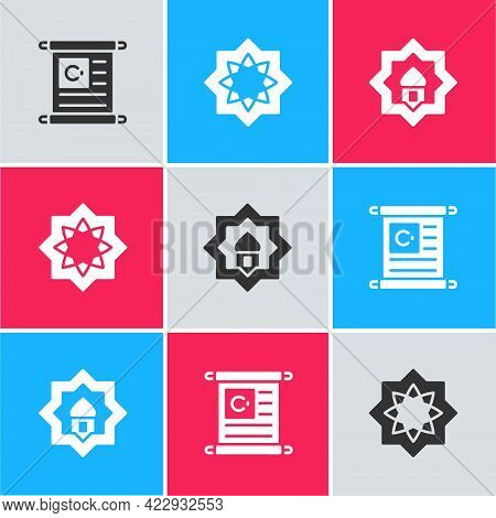 Set Holy Book Of Koran, Octagonal Star And Muslim Mosque Icon. Vector