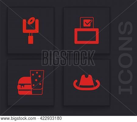 Set Western Cowboy Hat, American Football Goal Post, Vote Box And Burger Icon. Vector