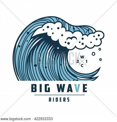 Summer Wave With Foam For Surfing. Marine Tide