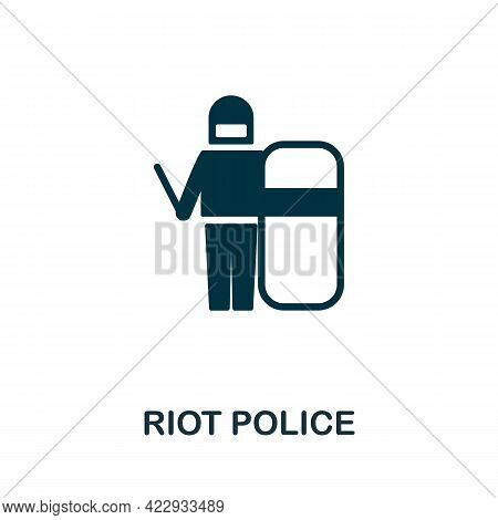 Riot Police Icon. Monochrome Simple Element From Civil Rights Collection. Creative Riot Police Icon