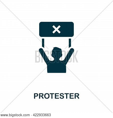 Protester Icon. Monochrome Simple Element From Civil Rights Collection. Creative Protester Icon For