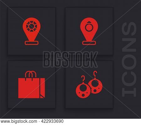 Set Earrings, Jewelry Store, And Shopping Bag Jewelry Icon. Vector