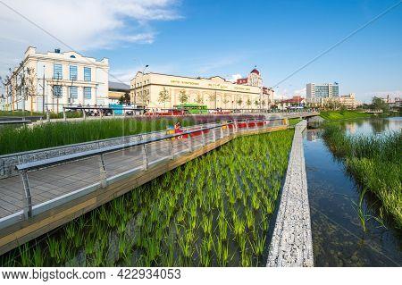 Kazan, Russia - July 16, 2018: Embankment Of The Lake Nizhny Kaban In Kazan, Capital Of Republic Tat