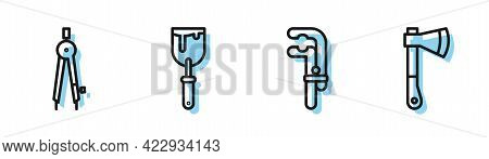 Set Line Clamp Tool, Drawing Compass, Putty Knife And Wooden Axe Icon. Vector